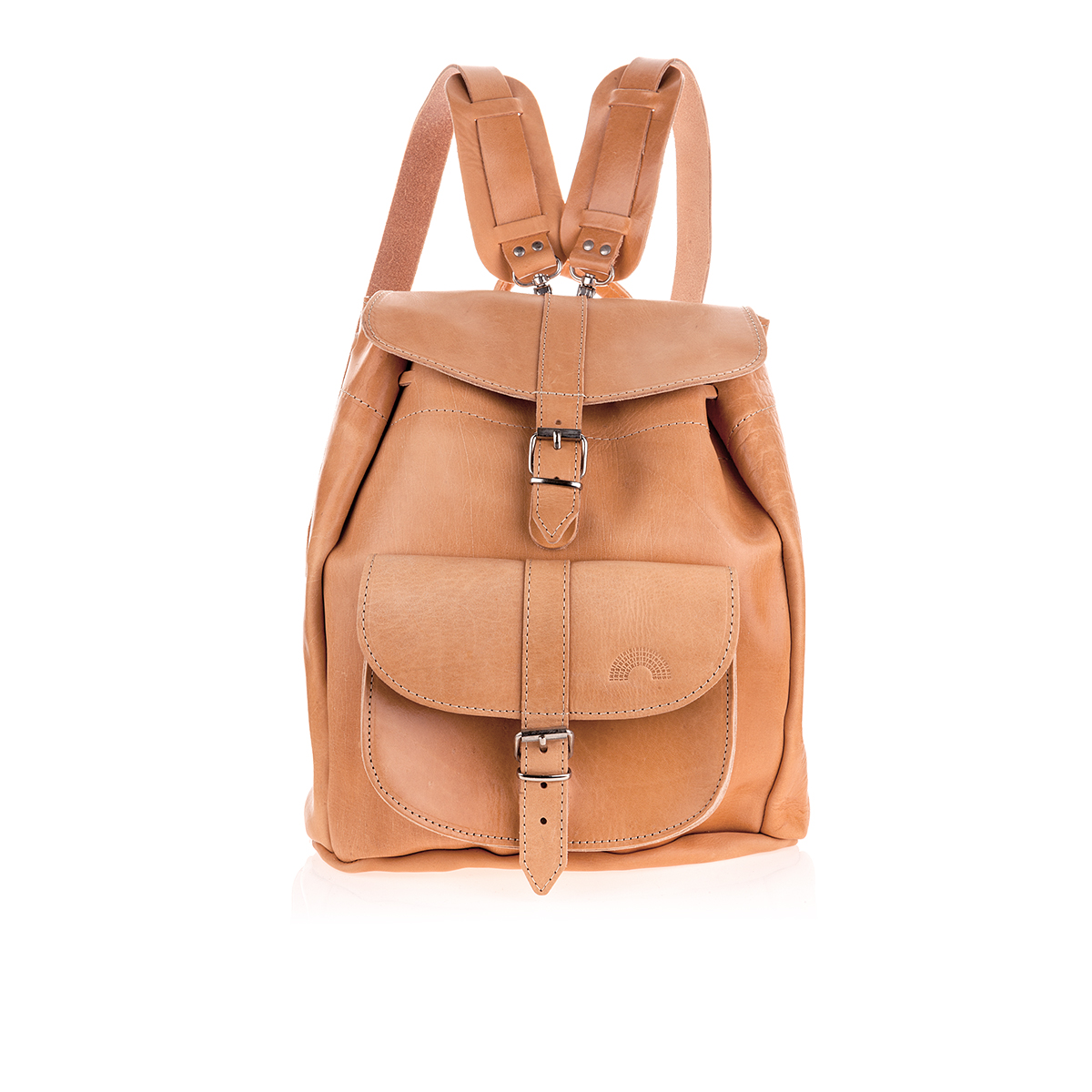 Natural Tan Leather Backpack in Large - Irisandals