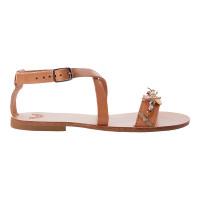 IRISANDALS_Natural tan bejeweled sandals