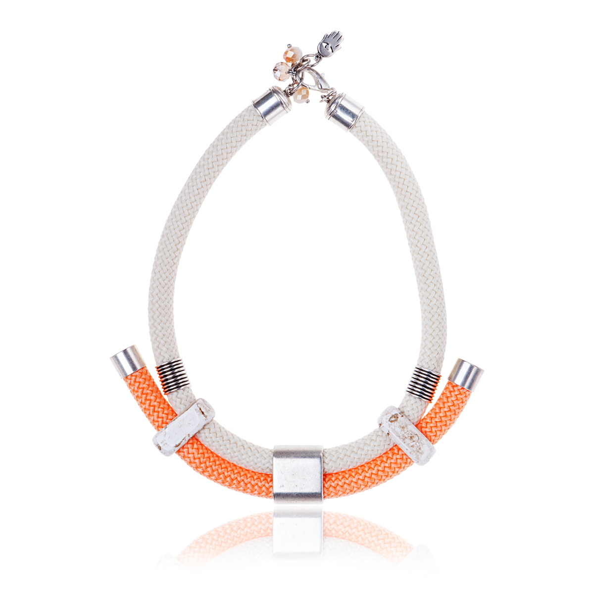 IRIS: Make a statement necklace / White, Orange & Silver | Accessories,Jewelry > Necklaces,Jewelry -  Hiphunters Shop