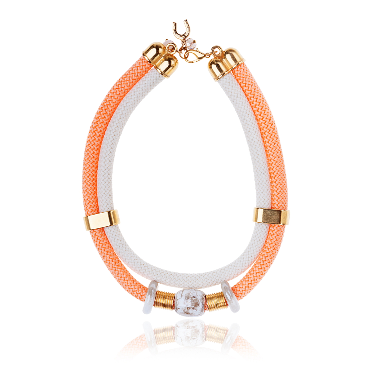 IRIS: Make a statement necklace / White & Orange | Accessories,Jewelry > Necklaces,Jewelry -  Hiphunters Shop