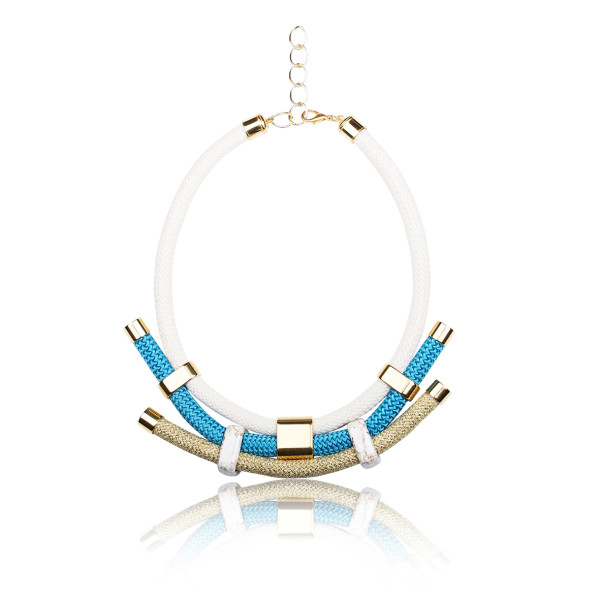 Ivory, Gold and Turquoise Statement Necklace