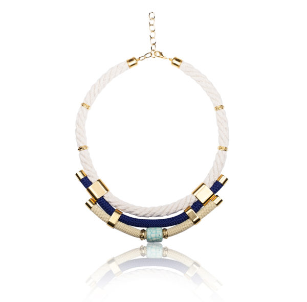 Ivory, Beige and Navy Statement Necklace