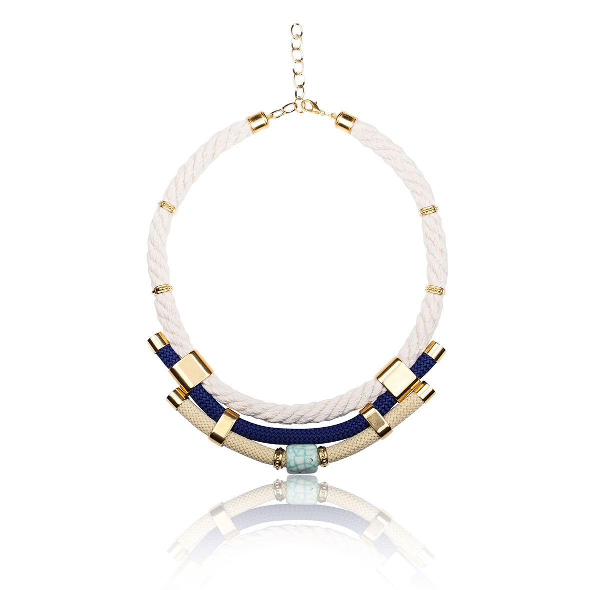 Make a statement necklace / Blue, White & Gold