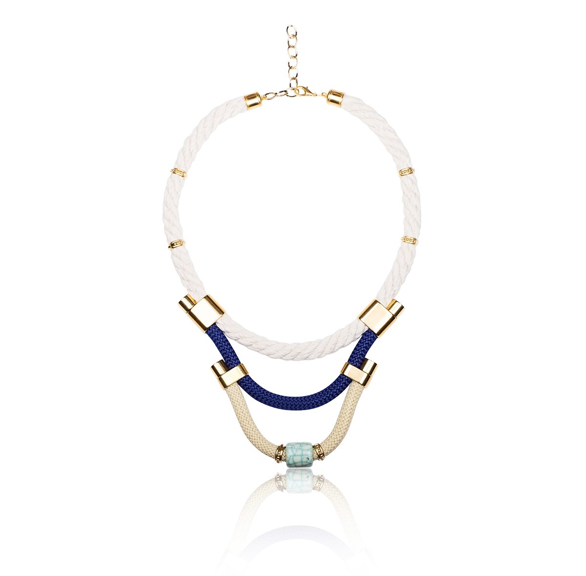 IRIS: Make a statement necklace / Blue, White & Gold | Accessories,Jewelry > Necklaces,Jewelry -  Hiphunters Shop